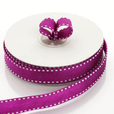 25 Yards 5/8 Inch DIY Eggplant Stitched Grosgrain Ribbon