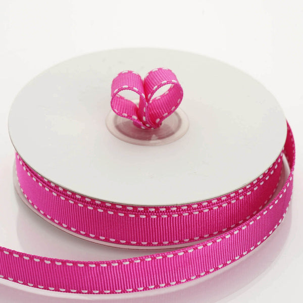 "25 Yards 5/8"" Fushia Stitched Grosgrain Ribbon Wholesale - Clearance SALE"