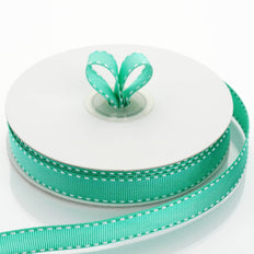 25 Yards 5/8 Inch Hunter Emerald Green Stitched Wholesale Grosgrain Ribbon By The Roll
