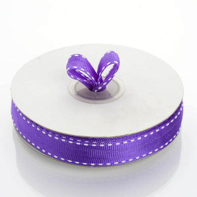 25 Yards 5/8 Inch Purple Stitched Grosgrain Ribbon Wholesale | TableclothsFactory