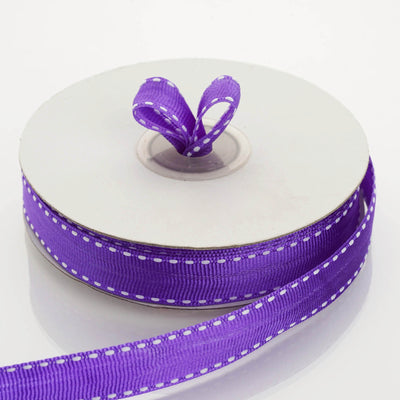 "25 Yards 5/8"" Purple Stitched Grosgrain Ribbon Wholesale"