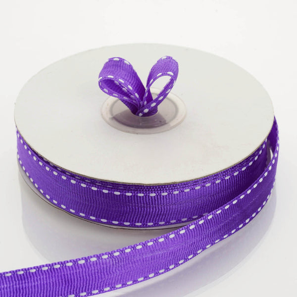 "25 Yards 5/8"" Purple Stitched Grosgrain Ribbon Wholesale - Clearance SALE"