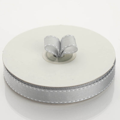 "25 Yards 5/8"" Silver Stitched Wholesale Grosgrain Ribbon By The Roll"