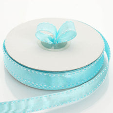 25 Yards 5/8 Inch Turquoise Stitched Wholesale Grosgrain Ribbon By The Roll | TableclothsFactory