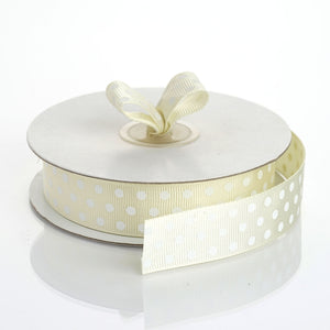 "25 Yards 7/8"" DIY Ivory Grosgrain White Polka Dot Ribbon"