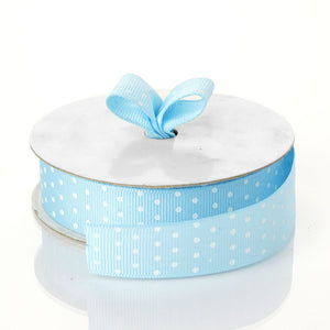 "25 Yards 7/8"" DIY Blue Grosgrain White Polka Dot Ribbon"