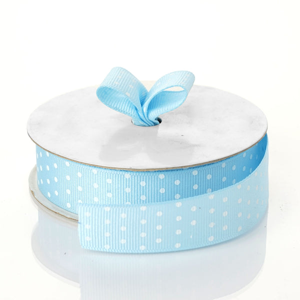 "25 Yards 7/8"" DIY Blue Grosgrain White Polka Dot Ribbon - Clearance SALE"