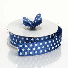 25 Yards 7/8 Inch | DIY Navy Blue Grosgrain White Polka Dot Ribbon | TableclothsFactory