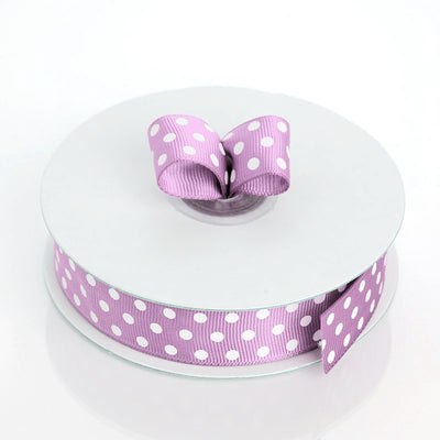 25 Yards 7/8 Inch | DIY Lavender Grosgrain White Polka Dot Ribbon | TableclothsFactory