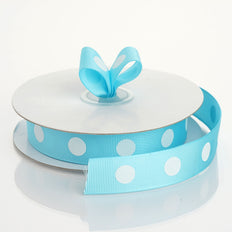 25 Yards 7/8 Inch | DIY Turquoise Grosgrain White Polka Dot Ribbon | TableclothsFactory