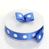 "25 Yards 7/8"" DIY Royal Blue Grosgrain White Polka Dot Ribbon"