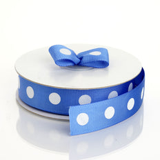 25 Yards 7/8 Inch | DIY Grosgrain White Polka Dot Ribbon | Craft Supplies | TableclothsFactory