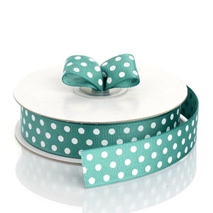 "25 Yard | 7/8"" Hunter Emerald Green Polka Dot Grosgrain Ribbon - Clearance SALE"