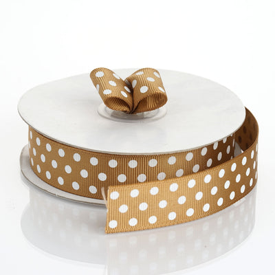 "25 Yards 7/8"" DIY Chocolate Grosgrain White Polka Dot Ribbon"