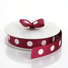 "25 Yards 7/8"" DIY Burgundy Grosgrain White Polka Dot Ribbon"