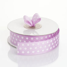 25 Yards 7/8 Inch | DIY Purple Grosgrain White Polka Dot Ribbon | TableclothsFactory