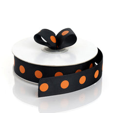 25 Yards 7/8 Inch | DIY Black Grosgrain Orange Polka Dot Ribbon | TableclothsFactory