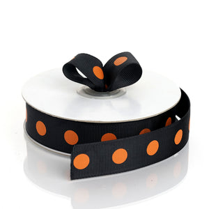 "25 Yards 7/8"" DIY Black Grosgrain Orange Polka Dot Ribbon"