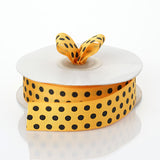 25 Yards 7/8 Inch | DIY Orange Grosgrain Black Polka Dot Ribbon | TableclothsFactory