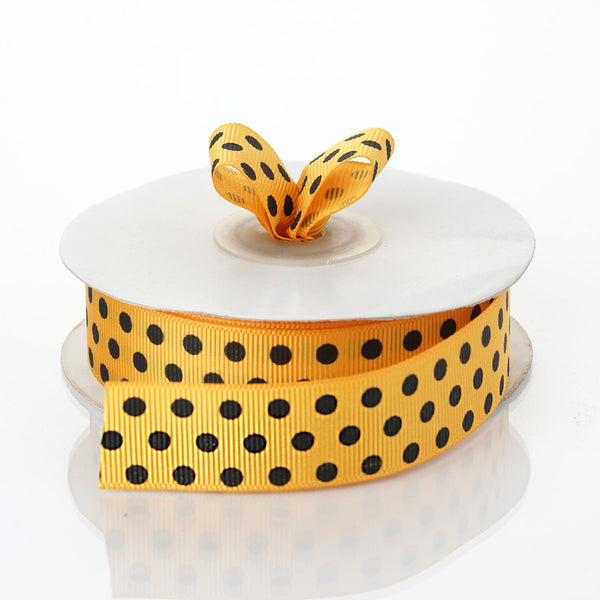 "25 Yards 7/8"" DIY Orange Grosgrain Black Polka Dot Ribbon - Clearance SALE"