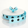 "25 Yards 7/8"" DIY Turquoise Grosgrain Black Polka Dot Ribbon"