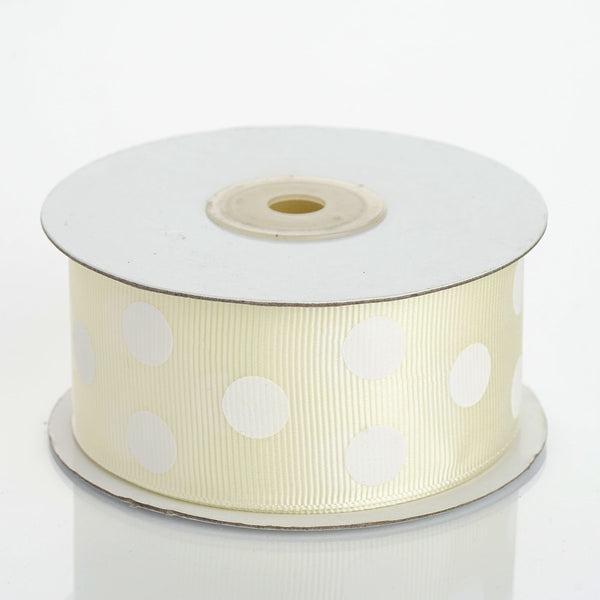 25 Yards | Ivory/White | Polka Dot Grosgrain Ribbon | Wholesale Ribbons - Clearance SALE