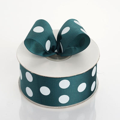 "25 Yards 1.5"" DIY Hunter Green Grosgrain White Polka Dot Ribbon"