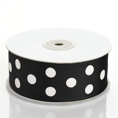 "25 Yards 1.5"" DIY Black Grosgrain White Polka Dot Ribbon"