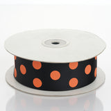 25 Yards | Black/Dusty Rose | Polka Dot Grosgrain Ribbon | Wholesale Ribbons
