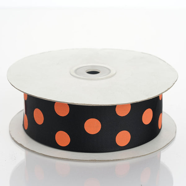 25 Yards | Black/Dusty Rose | Polka Dot Grosgrain Ribbon | Wholesale Ribbons - Clearance SALE