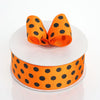 25 Yards | Orange/Black | Polka Dot Grosgrain Ribbon | Wholesale Ribbons