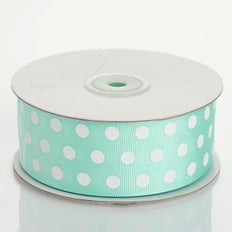 25 Yards | Mint Green/White | Polka Dot Grosgrain Ribbon | Wholesale Ribbons