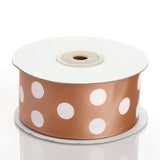 25 Yards | Tan/White | Polka Dot Grosgrain Ribbon | Wholesale Ribbons