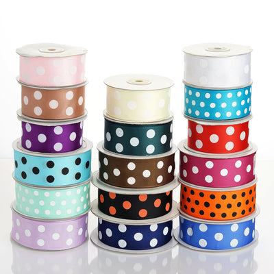 "25 Yards 1.5"" DIY Pink Grosgrain White Polka Dot Ribbon"