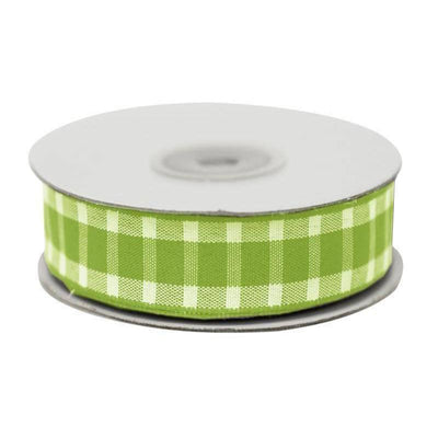 "Divergent Gingham Ribbon 5/8"" x 25yrds per roll-Green"