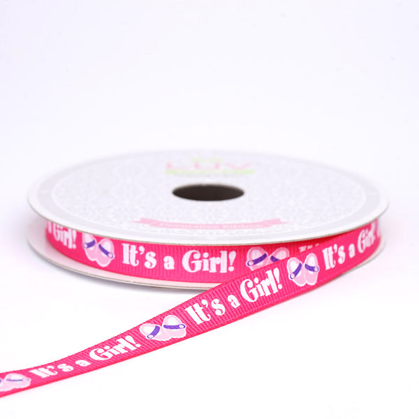 "10 Yards 3/8"" Pink Printed Grosgrain Ribbon - Clearance SALE"