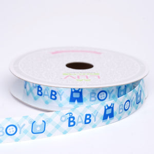 "10 Yards 5/8"" Blue Printed Grosgrain Ribbon"