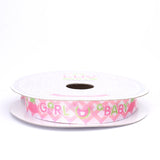 "10 Yards 5/8"" Pink Printed Grosgrain Ribbon"