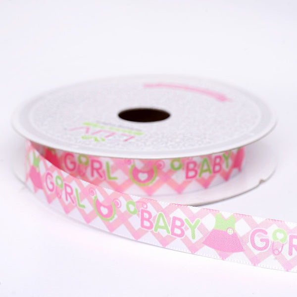 "10 Yards 5/8"" Pink Printed Grosgrain Ribbon - Clearance SALE"