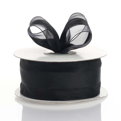 "25 Yards | 1.5"" DIY Black Organza Ribbon Satin Center"