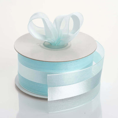 "25 Yards | 1.5"" DIY Baby Blue Organza Ribbon Satin Center"