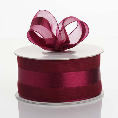 "25 Yards 1.5"" DIY Burgundy Satin Center Ribbon"