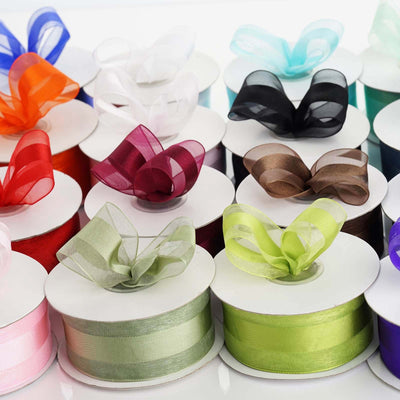 "25 Yards | 1.5"" DIY Ivory Organza Ribbon Satin Center"