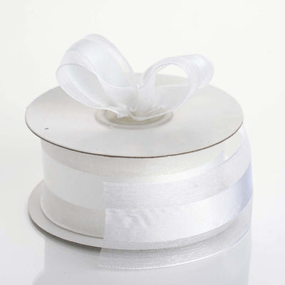 "25 Yards 1.5"" DIY White Satin Center Ribbon"