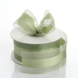 "25 Yards | 1.5"" DIY Moss Green Organza Ribbon Satin Center"