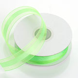 "25 Yards 7/8"" Apple Green Organza Satin Center Ribbon"