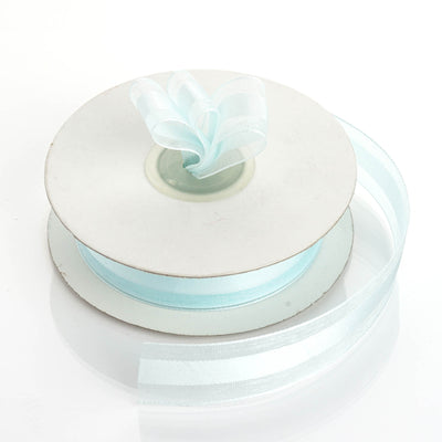 "25 Yards | 7/8"" DIY Baby Blue Organza Ribbon Satin Center"