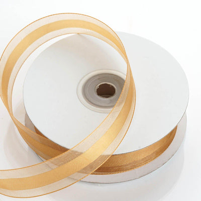 "25 Yards 7/8"" Gold Organza Satin Center Ribbon"