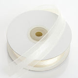 "25 Yards | 7/8"" DIY Ivory Organza Ribbon Satin Center"