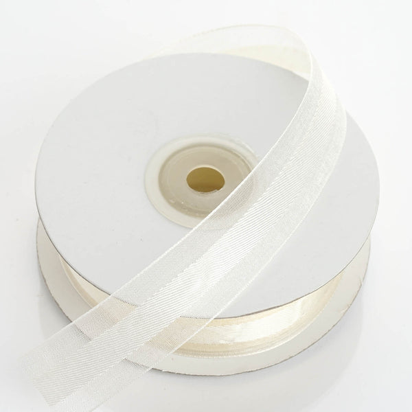 "25 Yards | 7/8"" DIY Ivory Organza Ribbon Satin Center - Clearance SALE"
